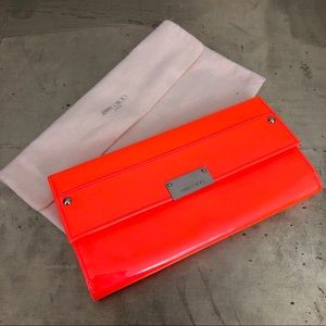 Jimmy Choo London Reese Flame Wallet Clutch Bag